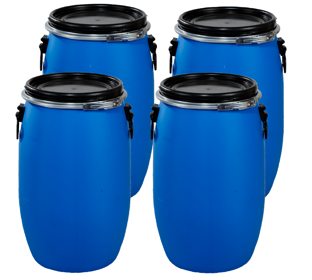 60 Litre  Full Open Top Plastic Drum - Pack of four Drums